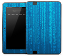 Neon Blue Falling Binary Skin for the Amazon Kindle