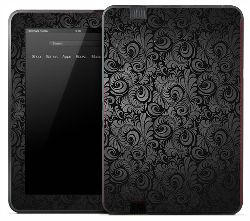 Black & Silver Floral Skin for the Amazon Kindle