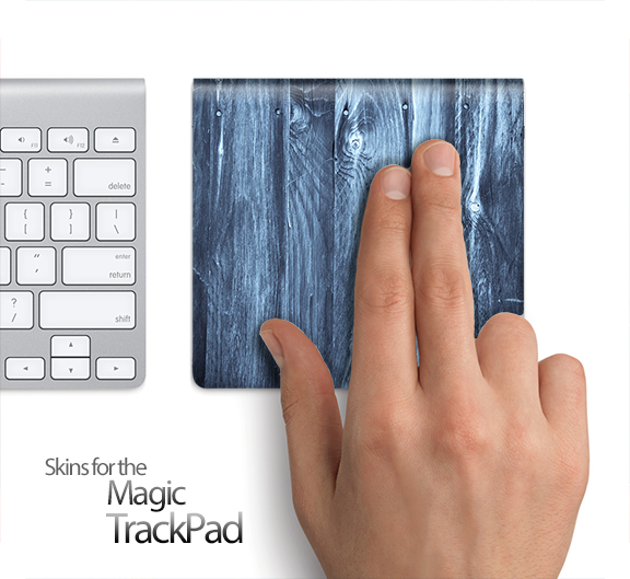 Blue Washed Wood Skin for the Apple Magic Trackpad