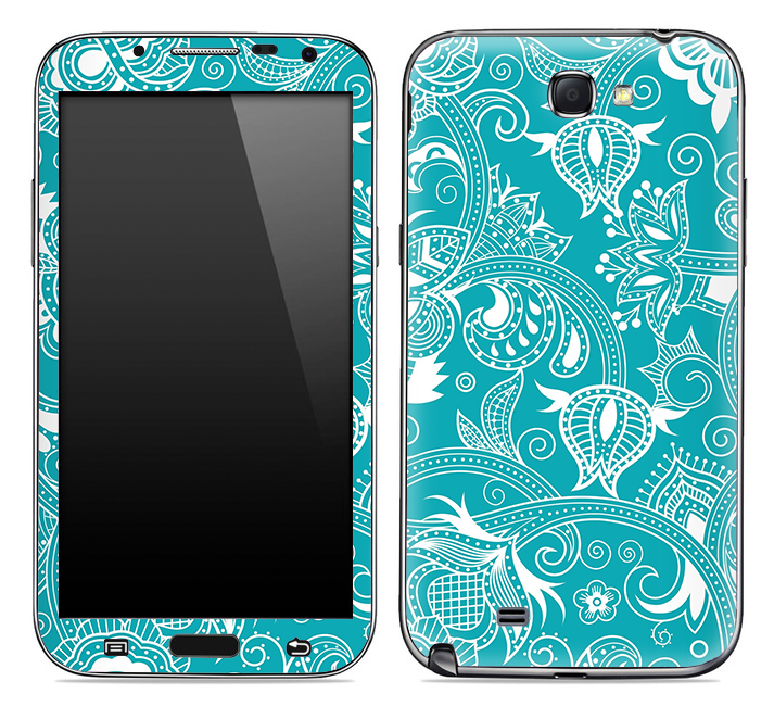 Turquoise & White Pattern Skin for the Samsung Galaxy Note 1 or 2