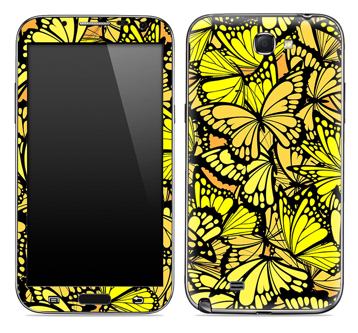 Yellow Butterfly Bundle Skin for the Samsung Galaxy Note 1 or 2