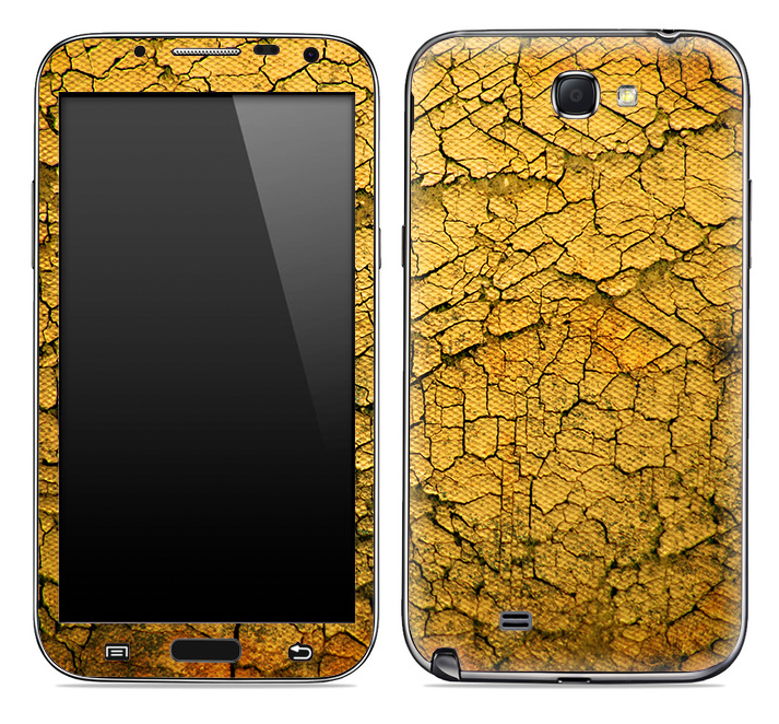 Yellow Cracked Surface Skin for the Samsung Galaxy Note 1 or 2