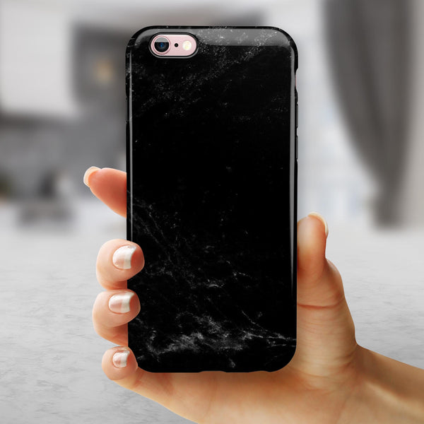 Slate Black Marble Surface iPhone 6/6s or 6/6s Plus 2-Piece Hybrid INK-Fuzed Case