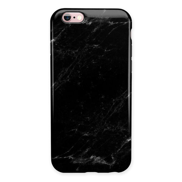 Slate Black Scratched Marble Surface iPhone 6/6s or 6/6s Plus 2-Piece Hybrid INK-Fuzed Case