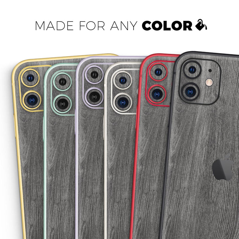 Smooth Gray Wood V2 - Skin-Kit compatible with the Apple iPhone 12, 12 Pro Max, 12 Mini, 11 Pro or 11 Pro Max (All iPhones Available)