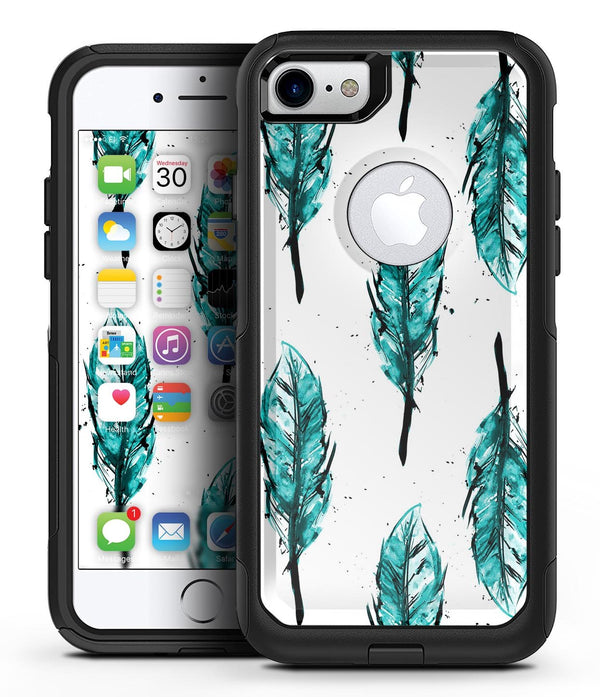 Splattered Teal Watercolor Feathers - iPhone 7 or 8 OtterBox Case & Skin Kits