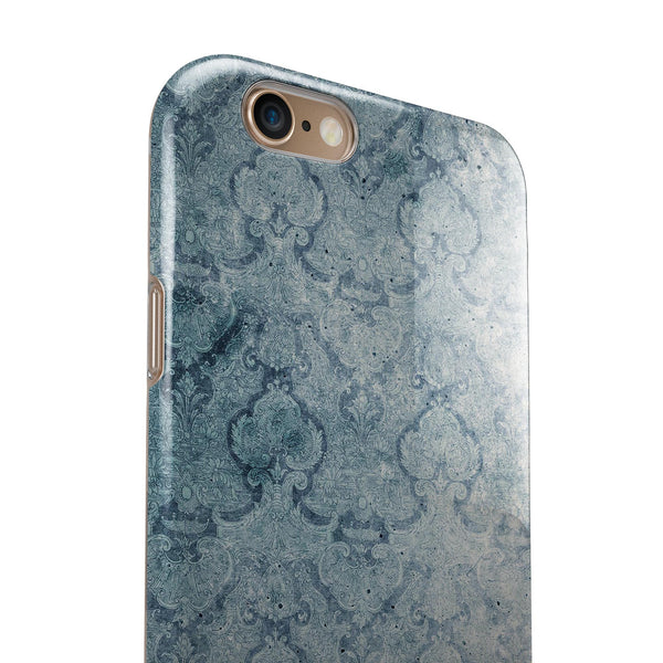Stained Faded Blue Damask Pattern iPhone 6/6s or 6/6s Plus 2-Piece Hybrid INK-Fuzed Case