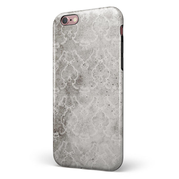 Stained Gray Damask Pattern iPhone 6/6s or 6/6s Plus 2-Piece Hybrid INK-Fuzed Case