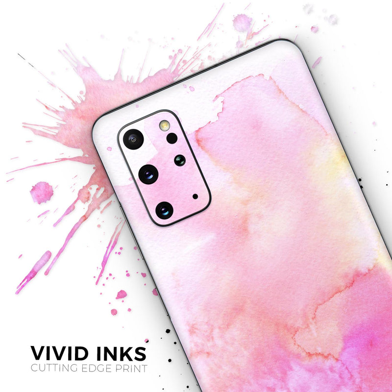 Subtle Pink 2 Absorbed Watercolor Texture - Skin-Kit for the Samsung Galaxy S-Series S20, S20 Plus, S20 Ultra , S10 & others (All Galaxy Devices Available)