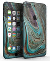 Swirling Dark Acrylic Marble - Sectioned Skin-Kit for the iPhone 7 or 7 Plus