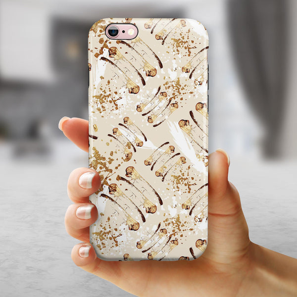 Tan Brush Strokes of Gold iPhone 6/6s or 6/6s Plus 2-Piece Hybrid INK-Fuzed Case