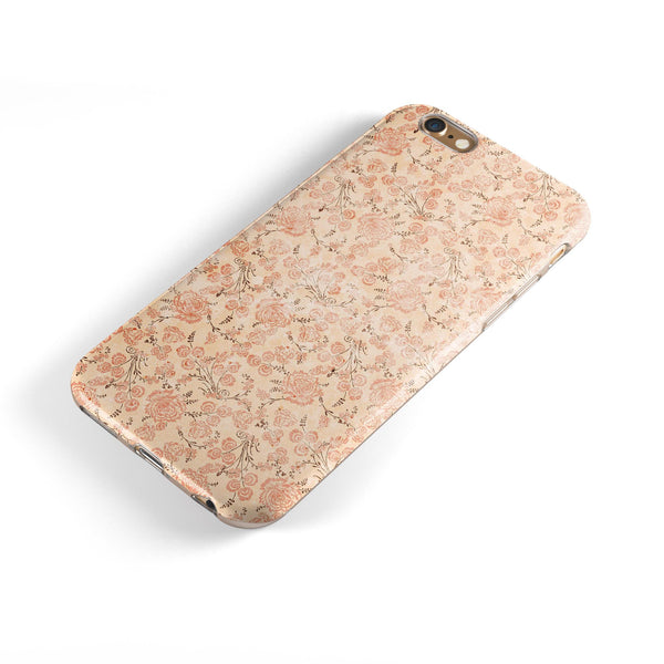 Tangerine Grunge Floral Pattern iPhone 6/6s or 6/6s Plus 2-Piece Hybrid INK-Fuzed Case