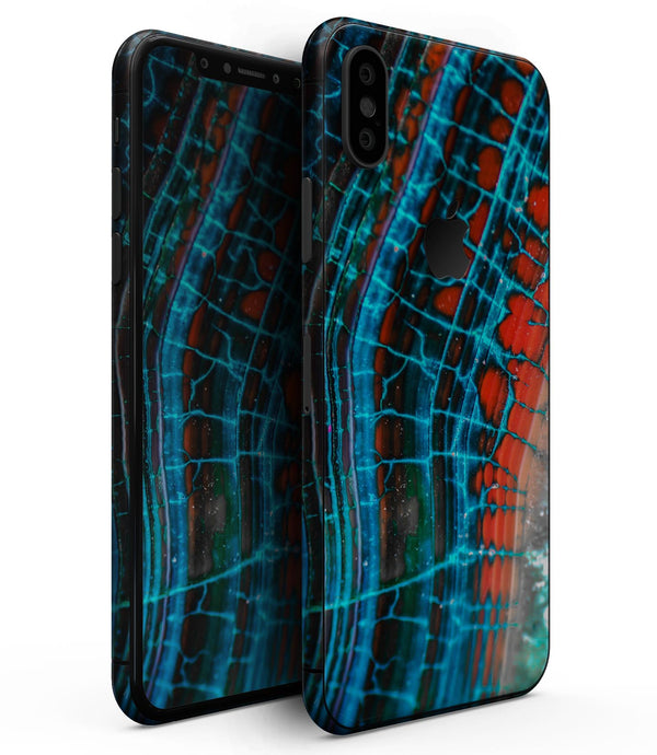 Teal Blue Red Dragon Vein Agate V2 - iPhone XS MAX, XS/X, 8/8+, 7/7+, 5/5S/SE Skin-Kit (All iPhones Available)