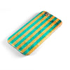 Teal Green Vertical Stripes of Gold iPhone 6/6s or 6/6s Plus 2-Piece Hybrid INK-Fuzed Case