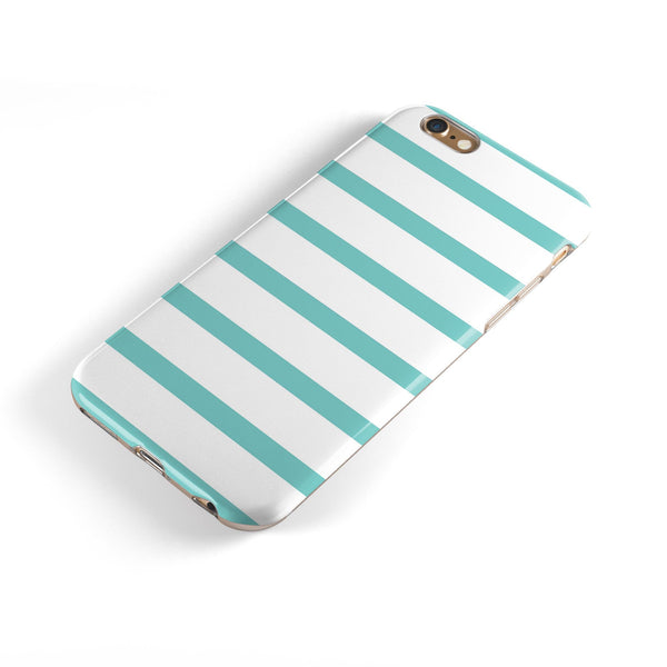 Teal Horizonal Stripes iPhone 6/6s or 6/6s Plus 2-Piece Hybrid INK-Fuzed Case