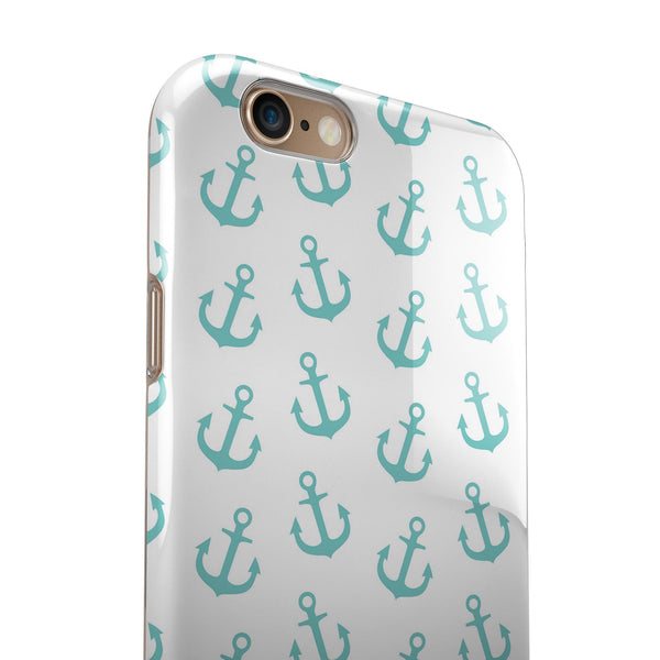 Teal Micro Anchors iPhone 6/6s or 6/6s Plus 2-Piece Hybrid INK-Fuzed Case