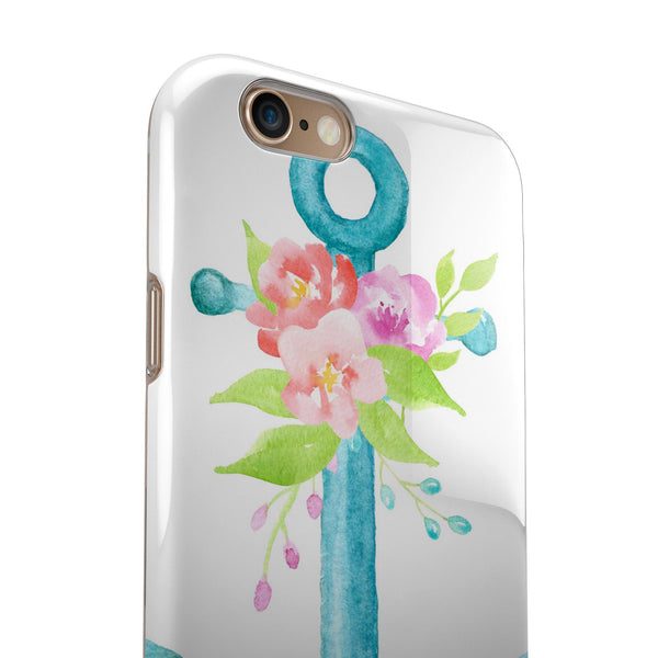 Teal Watercolor Floral Anchor iPhone 6/6s or 6/6s Plus 2-Piece Hybrid INK-Fuzed Case