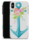 Teal Watercolor Floral Anchor - iPhone X Clipit Case