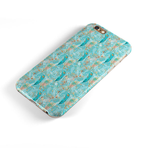 Teal and Coral Whispy Feathers Over Waterstrokes iPhone 6/6s or 6/6s Plus 2-Piece Hybrid INK-Fuzed Case