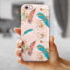 Teal and Croal Feathers Over Gold Strokes iPhone 6/6s or 6/6s Plus 2-Piece Hybrid INK-Fuzed Case