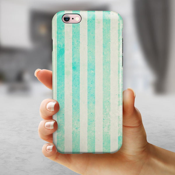 Teal and Green Grunge Vertical Stripes iPhone 6/6s or 6/6s Plus 2-Piece Hybrid INK-Fuzed Case