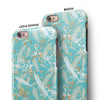 Teal and Orange Whispy Waterstrokes iPhone 6/6s or 6/6s Plus 2-Piece Hybrid INK-Fuzed Case