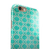 Teal and White Bubble Morrocan Pattern iPhone 6/6s or 6/6s Plus 2-Piece Hybrid INK-Fuzed Case