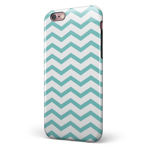 Teal and White Jagged Chevron iPhone 6/6s or 6/6s Plus 2-Piece Hybrid INK-Fuzed Case
