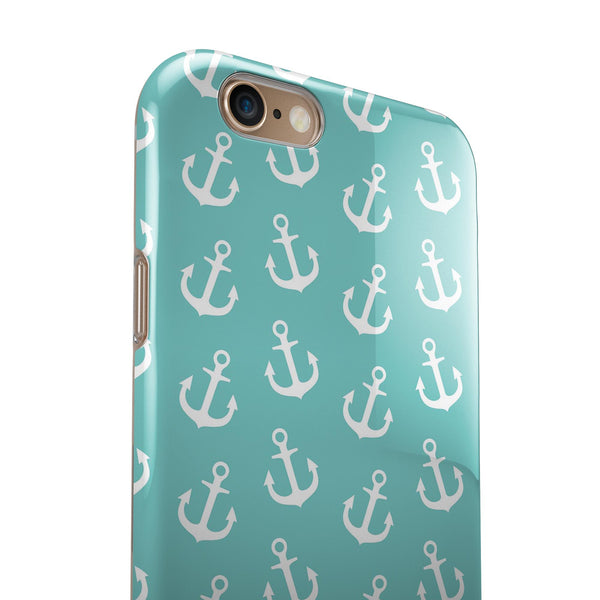 Teal and White Micro Anchors iPhone 6/6s or 6/6s Plus 2-Piece Hybrid INK-Fuzed Case