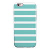 Teal and White horizontal Stripes iPhone 6/6s or 6/6s Plus 2-Piece Hybrid INK-Fuzed Case