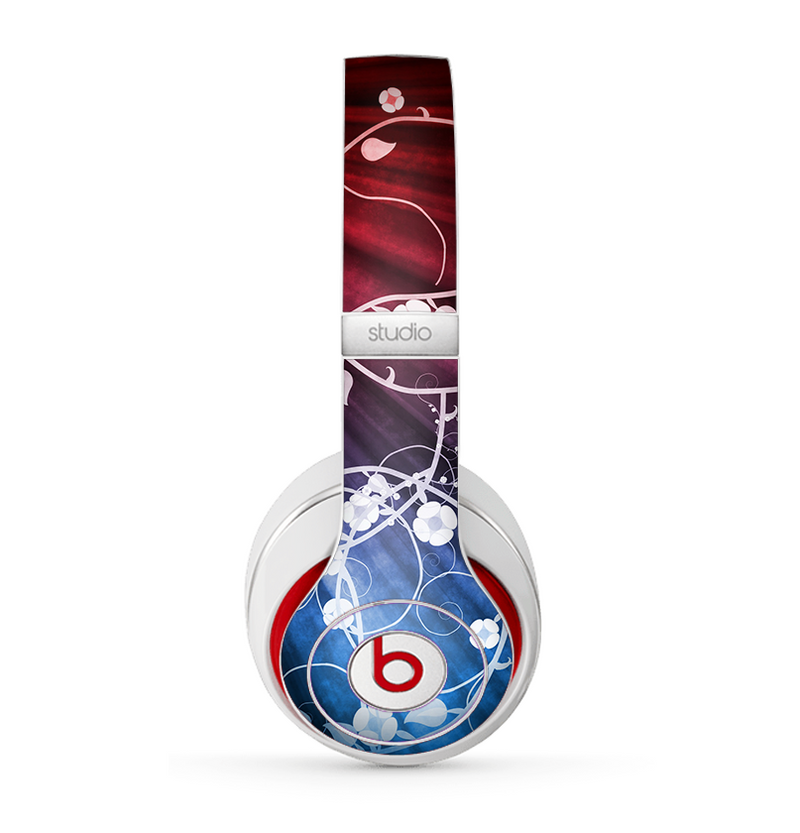 The Blue and Red Light Arrays with Glowing Vines Skin for the Beats by Dre Studio (2013+ Version) Headphones