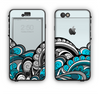 The Abstract Black & Blue Paisley Waves Apple iPhone 6 LifeProof Nuud Case Skin Set