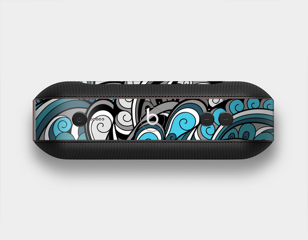 The Abstract Black & Blue Paisley Waves Skin Set for the Beats Pill Plus
