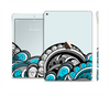 The Abstract Black & Blue Paisley Waves Skin Set for the Apple iPad Air 2