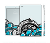 The Abstract Black & Blue Paisley Waves Skin Set for the Apple iPad Mini 4