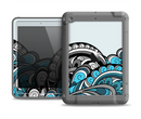 The Abstract Black & Blue Paisley Waves Apple iPad Mini LifeProof Fre Case Skin Set