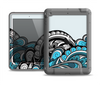 The Abstract Black & Blue Paisley Waves Apple iPad Mini LifeProof Nuud Case Skin Set