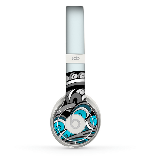 The Abstract Black & Blue Paisley Waves Skin for the Beats by Dre Solo 2 Headphones