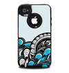The Abstract Black & Blue Paisley Waves Skin for the iPhone 4-4s OtterBox Commuter Case