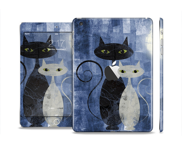 The Abstract Black & White Cats Full Body Skin Set for the Apple iPad Mini 2