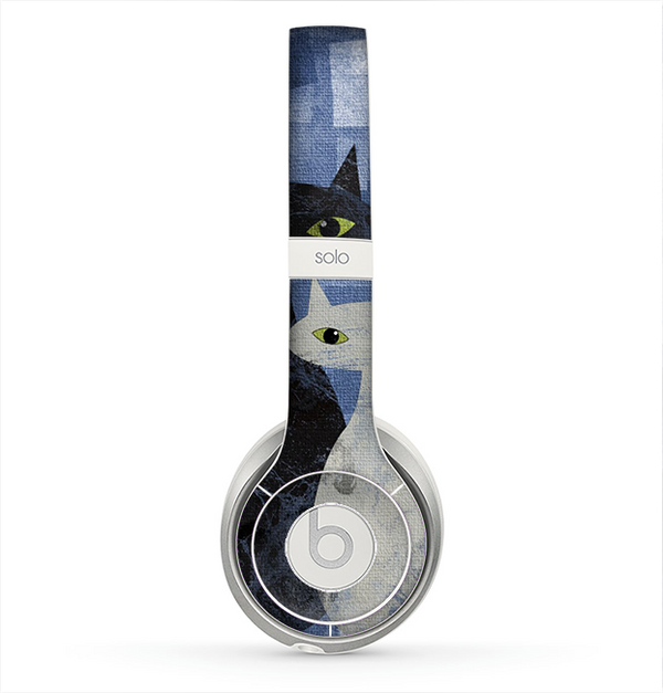 The Abstract Black & White Cats Skin for the Beats by Dre Solo 2 Headphones