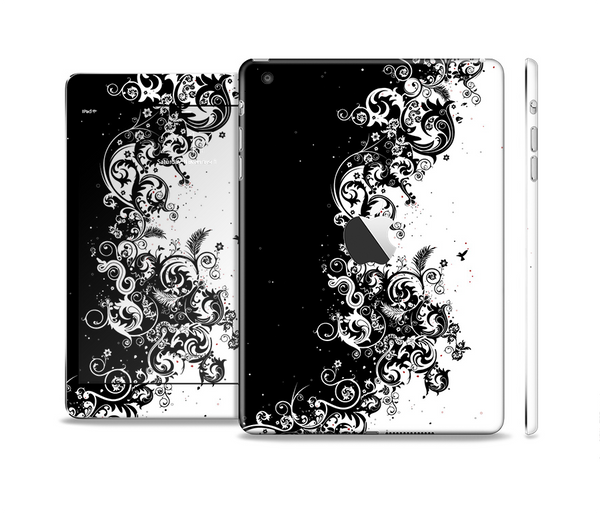 The Abstract Black & White Swirls Full Body Skin Set for the Apple iPad Mini 2