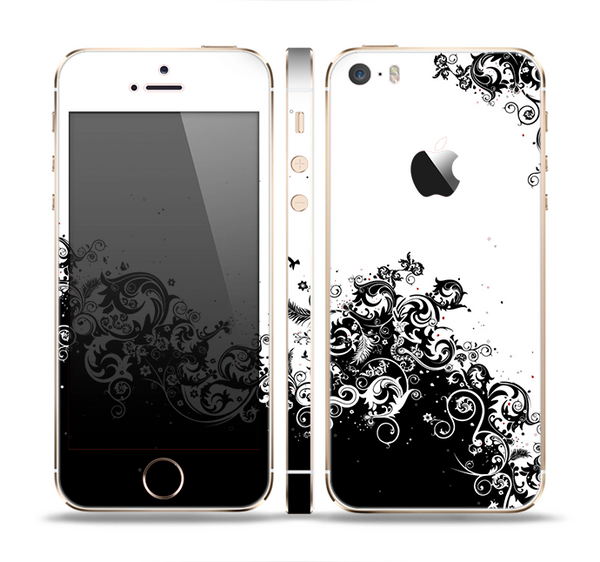The Abstract Black & White Swirls Skin Set for the Apple iPhone 5s