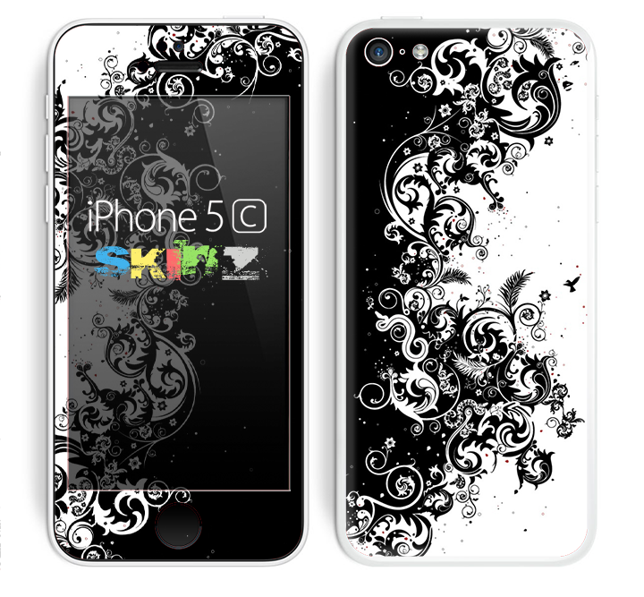 The Abstract Black & White Swirls Skin for the Apple iPhone 5c
