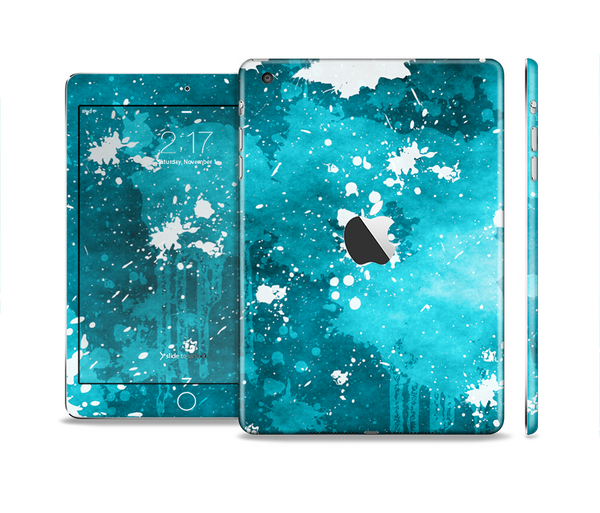 The Abstract Bleu Paint Splatter Full Body Skin Set for the Apple iPad Mini 2