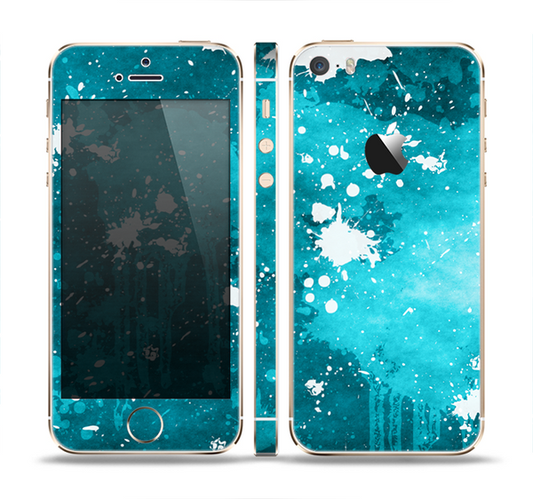 The Abstract Bleu Paint Splatter Skin Set for the Apple iPhone 5s