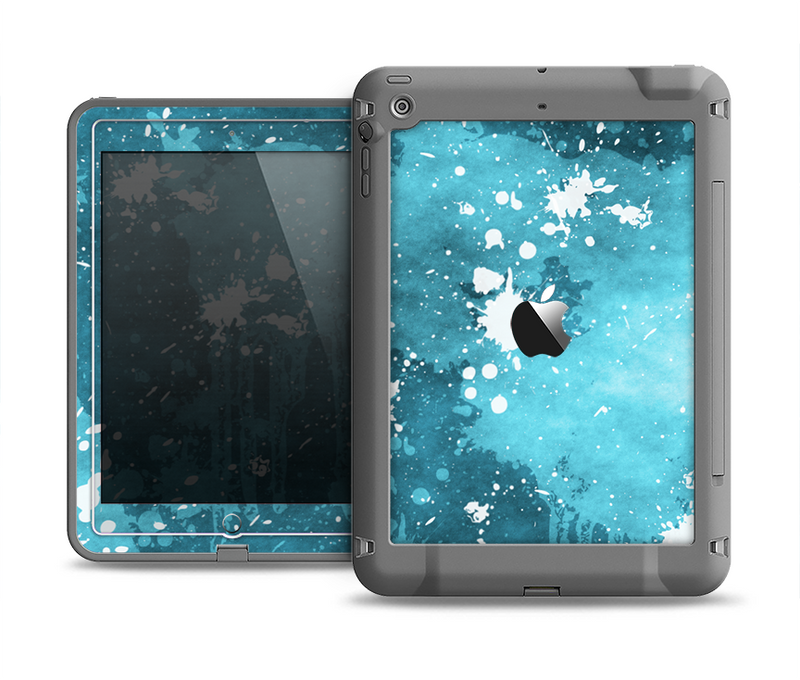 The Abstract Bleu Paint Splatter Apple iPad Air LifeProof Fre Case Skin Set
