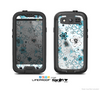 The Abstract Blue & Black Seamless Flowers Skin For The Samsung Galaxy S3 LifeProof Case