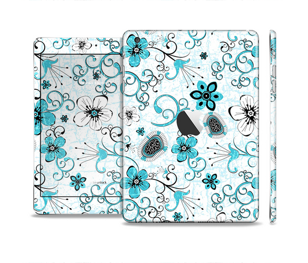 The Abstract Blue & Black Seamless Flowers Full Body Skin Set for the Apple iPad Mini 2