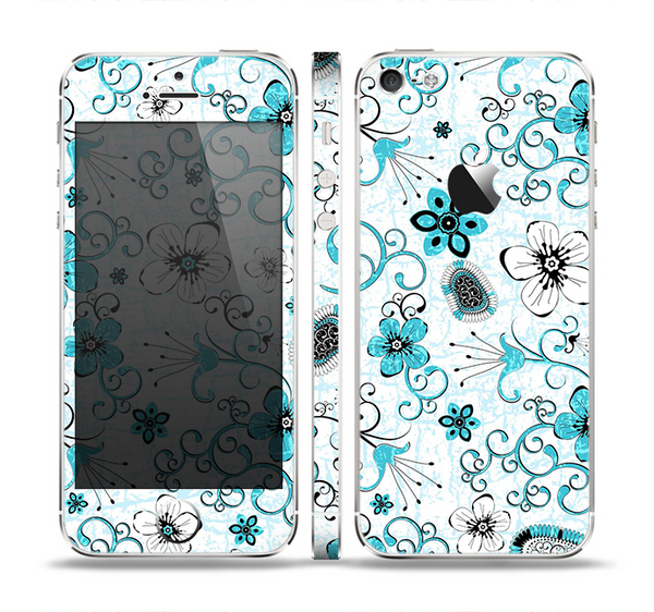 The Abstract Blue & Black Seamless Flowers Skin Set for the Apple iPhone 5